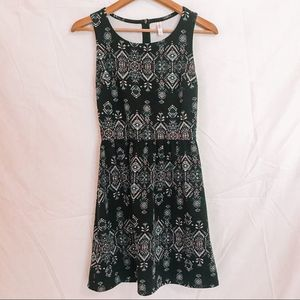 Black Tribal Print Dress Small